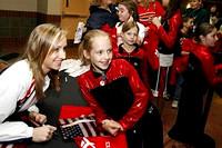 Nastia Liukin signs autographs on the concourse