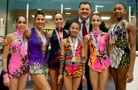The U.S. Team with USA Gymnastics President Steve Penny