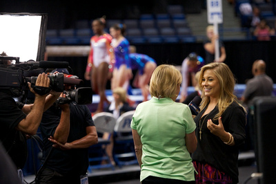 Shawn Johnson is interviewed by NBC