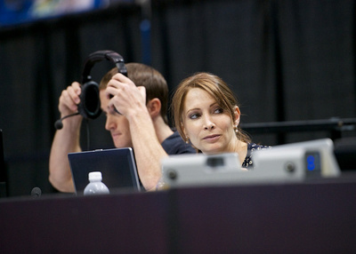 Shannon Miller and Paul Hamm provide the in-house commentary