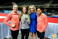 Gabrielle Douglas and Maggie Nichols with Carly Patterson and Nastia Liukin