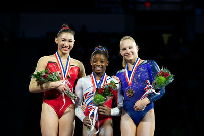 Top three in the all around - Simone Biles, Kyla Ross and Brenna Dowell
