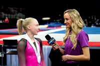 Nastia Liukin talking to junior winner Carly Bauman