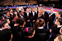 Nastia Liukin talks to the girls after the competition