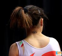 Vanessa Ferrari (Italy) and her Olympic rings tattoo
