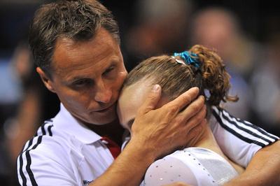 Rebecca Bross and her coach