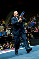 USA Gymnastics President Steve Penny also shot T-shirts into the crowd