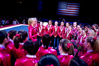 Nastia Liukin talks to the competitors after the competition