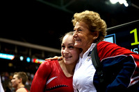 Jordyn Wieber gets a hug from Martha Karolyi after the competition