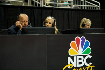 The NBC crew prepares for the broadcast