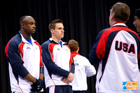 Donnell Whittenburg and Sam Mikulak line up before warmups