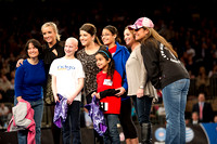 Nastia Liukin, Carly Patterson and Mary Lou Retton pose with some special guests