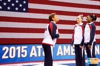 Martha Karolyi talks to the USA athletes