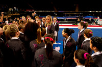 Nastia talks to the athletes after the competition