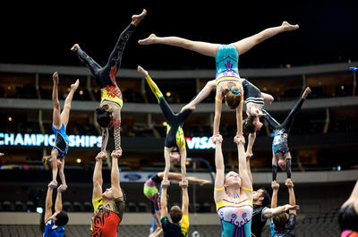 Members of the 2009-10 Acrobatic National Team perform for the crowd