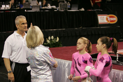 Kamerin Moore, Jordyn Wieber and their coaches