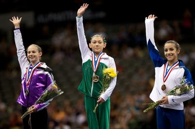 Top three all-around medalist - Kyla Ross (1st), Bridgette Caquatto (2nd) and Alexandra Raisman (3rd)