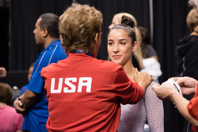 Martha Karolyi talks to Aly Raisman