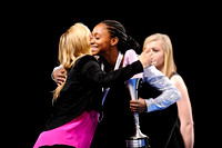 Aja Sims gets a hug from Nastia Liukin