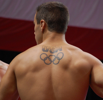 Jake Dalton sports his Olympic tattoo