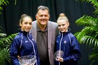 Jazzy Kerber and Rebecca Sereda with USA Gymnastics President Steve Penny