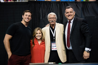 Shawn Johnson and her husband with Bela Karolyi and Steve Penny