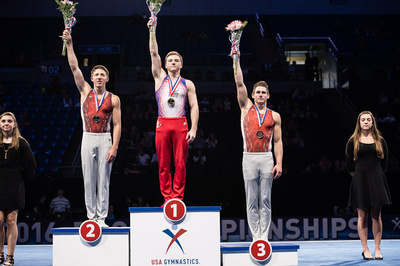 Top three in the all-around for 17-18 year olds