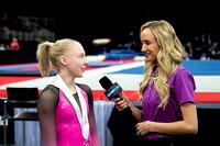Nastia Liukin talking to junior winner Carly Bauman