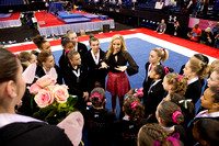 Nastia talks to the girls after the competition