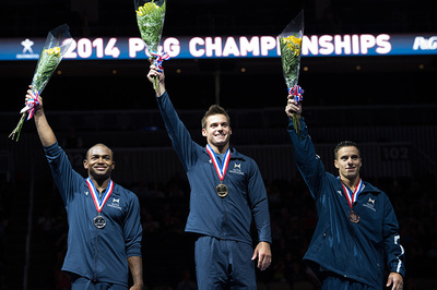 Top three in the all-around. 1st-Sam Mikulak; 2nd-John Orozco; 3rd-Jake Dalton