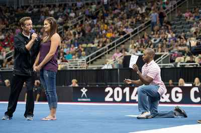 A couple gets engaged during some fan activities