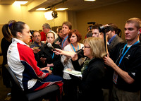 Jordyn Wieber talks to the media