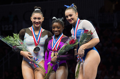 Top three in the all-around. 1st-Simone Biles; 2nd-Kyla Ross; 3rd-Maggie Nichols