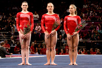Shawn Johnson (right), Samantha Peszek (center) and Shayla Worley (left) finished 2nd, 3rd and 4th, respectively