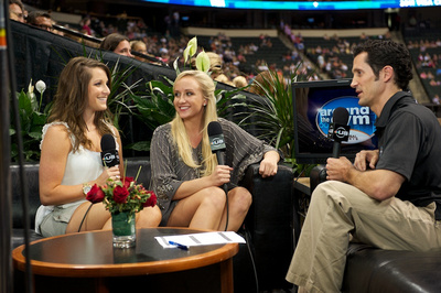 Carly Patterson gives an interview on Around the Gym with Nastia Liukin and John Roethlisberger