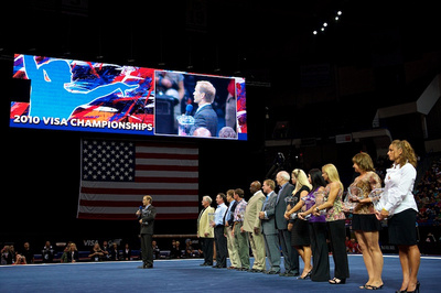 The 1980 U.S. Olympic Team was honored before the competition
