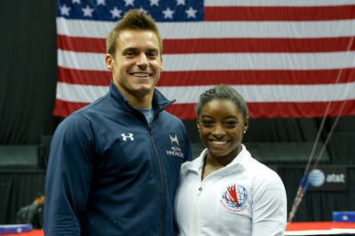 Repeat national champions Sam Mikulak and Simone Biles