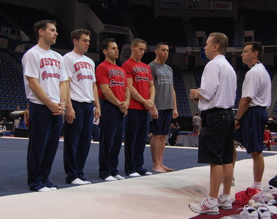 Members of the U.S. Olympic Training Center get ready for training