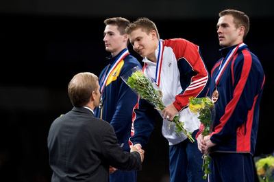 Jonathan Horton receives his all-around gold medal