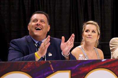 USA Gymnastics President Steve Penny and Carly Petterson