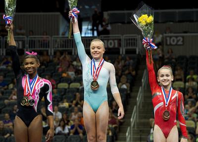 Top three in the all-around - 1st-Jazmyn Foberg; 2nd-Nia Dennis; 3rd-Norah Flatley