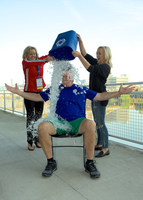 USA Gymnastics President Steve Penny does ALS Ice Bucket Challenge with Nastia Liukin and Patti Komara
