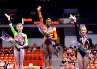 Top three all-around: Simone Biles (1st), Madison Desch (2nd), Amelia Hundley (3rd)