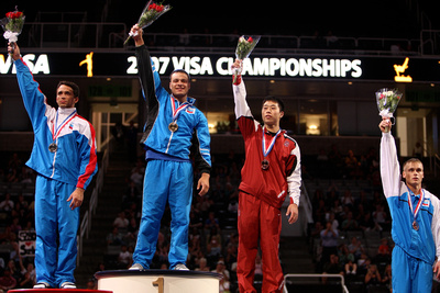 All-Around champions - David Durante (1st), Guillermo Alvarez (2nd), Sho Nakamori (3rd)