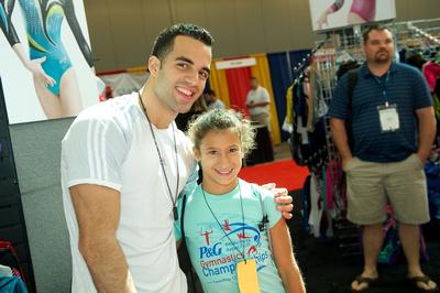 Danell Leyva with a fan