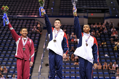Top 3 all-around finishers for ages 14-15 - Sean Melton, Adrian de los Angeles, Jake  Martin