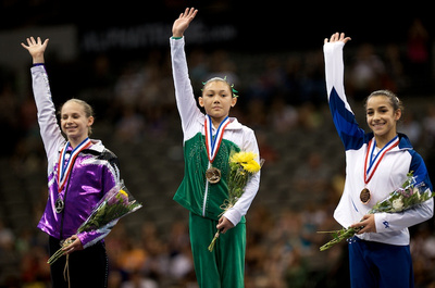 Top three all-around medalist - Kyla Ross (1st), Bridgette Caquatto (2nd) and Alexandra Raisman (3rd)