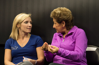 Kim Zmeskal-Burdette and Martha Karolyi