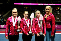 Nastia Liukin with the top three finishers: Rachel Spicer (3rd), Grace Williams (1st), Amelia Hundley (2nd)