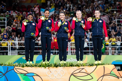 USA Gymnastics: Aug. 9 - Women's Team Final &emdash; USA, winners of the team gold medal